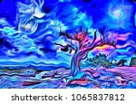 surreal painting. old tree ... | Shutterstock . vector #1065837812