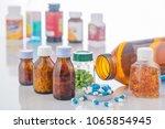 medicine and medicine bottle on ... | Shutterstock . vector #1065854945
