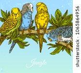 beautiful jungle background... | Shutterstock .eps vector #1065864956