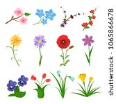 flowers vector set on white... | Shutterstock .eps vector #1065866678