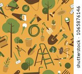 garden tools seamless pattern | Shutterstock .eps vector #1065876146
