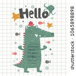 cute happy crocodile.cartoon... | Shutterstock .eps vector #1065898898