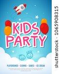 kids fun party celebration...   Shutterstock .eps vector #1065908315