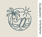 surf line art stamp in modern... | Shutterstock .eps vector #1065908732