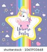 a cute unicorn with rainbow...
