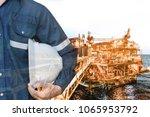 double exposure of engineer or... | Shutterstock . vector #1065953792