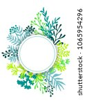 vector card with herbal twigs... | Shutterstock .eps vector #1065954296