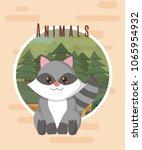 raccoon cute animal card | Shutterstock .eps vector #1065954932