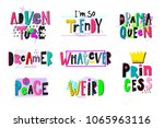 drama queen shirt quote collage ... | Shutterstock .eps vector #1065963116