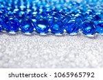 Water Blue Gel Balls On Silver...
