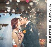 wedding snowboarders couple... | Shutterstock . vector #1065970742