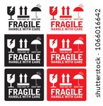 fragile handle with care with... | Shutterstock .eps vector #1066016642