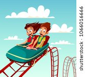 kids on rollercoaster rides... | Shutterstock .eps vector #1066016666
