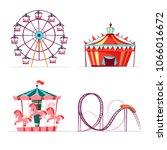 vector cartoon amusement park... | Shutterstock .eps vector #1066016672