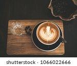 closeup latte art of coffee... | Shutterstock . vector #1066022666