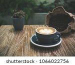 closeup latte art of coffee... | Shutterstock . vector #1066022756