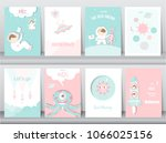 set of cute space posters... | Shutterstock .eps vector #1066025156