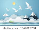 paper art seagull fly above the ... | Shutterstock .eps vector #1066025738