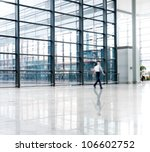 people silhouette in hall of... | Shutterstock . vector #106602752