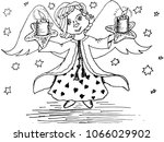funny cute angel with light... | Shutterstock .eps vector #1066029902