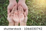 close up open hands of man and... | Shutterstock . vector #1066030742