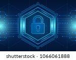 hexagon cyber security... | Shutterstock .eps vector #1066061888