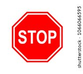 vector stop sign icon. red stop ... | Shutterstock .eps vector #1066066595