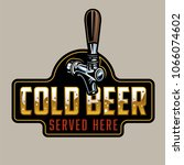 classic beer tap gold and... | Shutterstock .eps vector #1066074602