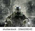 a special forces soldier sits...   Shutterstock . vector #1066108142