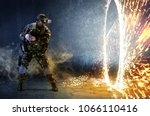 a soldier with virtual reality... | Shutterstock . vector #1066110416
