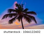colorful tropical sunset... | Shutterstock . vector #1066122602