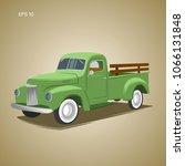 old retro pickup truck vector... | Shutterstock .eps vector #1066131848