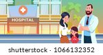 doctor with mother and daughter ... | Shutterstock .eps vector #1066132352