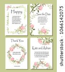 a set of postcards with flowers ... | Shutterstock .eps vector #1066142075