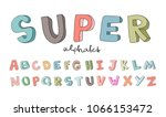 hand drawn alphabet  font ... | Shutterstock .eps vector #1066153472