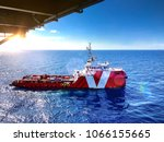 supply boat offshore oil rig... | Shutterstock . vector #1066155665