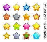 cartoon colorful star icons set....