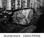 waterdrops on the car mirror...   Shutterstock . vector #1066159406