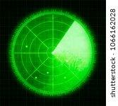 green radar screen with targets | Shutterstock . vector #1066162028