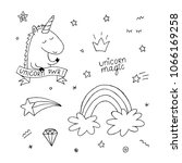 unicorn coloring book set.... | Shutterstock .eps vector #1066169258