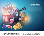 movie elements set. vintage... | Shutterstock .eps vector #1066186508