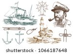 boatswain with pipe. lighthouse ... | Shutterstock .eps vector #1066187648