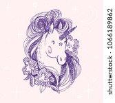 unicorn flower card. hand drawn ...   Shutterstock .eps vector #1066189862