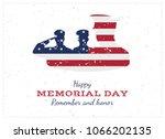 happy memorial day. vintage... | Shutterstock .eps vector #1066202135