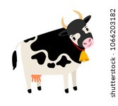 cute cow. dairy cow with bell... | Shutterstock .eps vector #1066203182