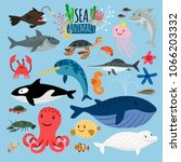 sea animals. vector underwater... | Shutterstock .eps vector #1066203332
