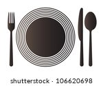 plate  knife  spoon and fork | Shutterstock .eps vector #106620698