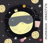 cute moon cartoon illustration. ... | Shutterstock .eps vector #1066227176