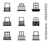 architecture balcony icon set.... | Shutterstock . vector #1066229222