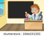 chemistry teacher by blackboard ... | Shutterstock .eps vector #1066231202